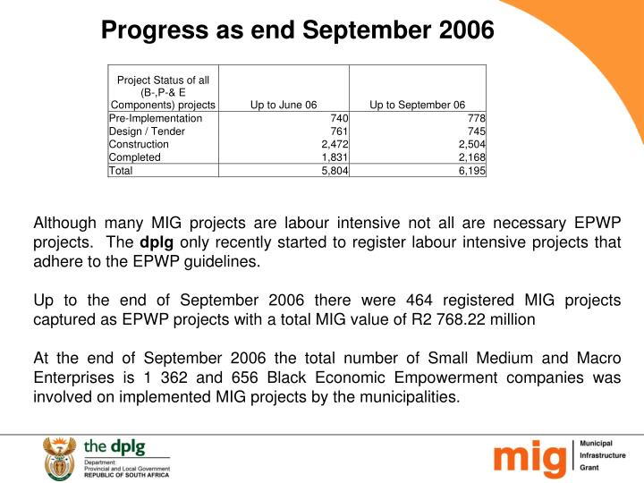 Progress as end September 2006