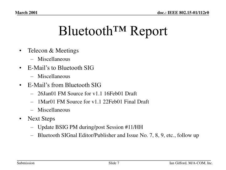 Bluetooth™ Report