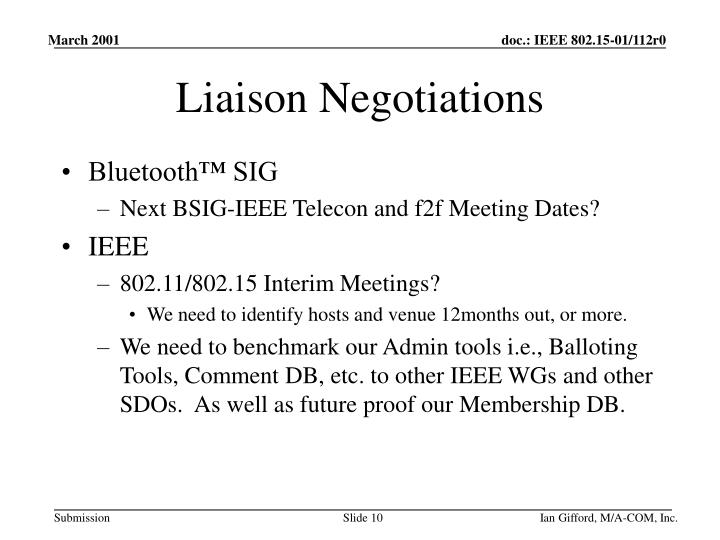 Liaison Negotiations