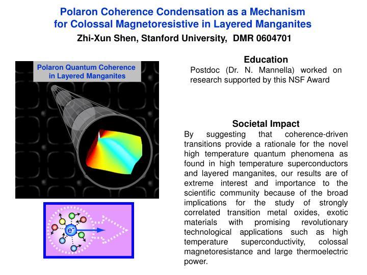 Polaron Coherence Condensation as a Mechanism