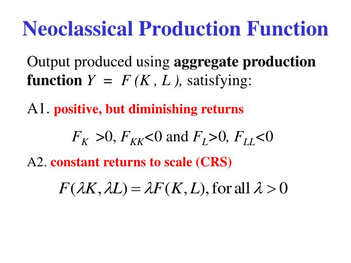 Neoclassical Production Function