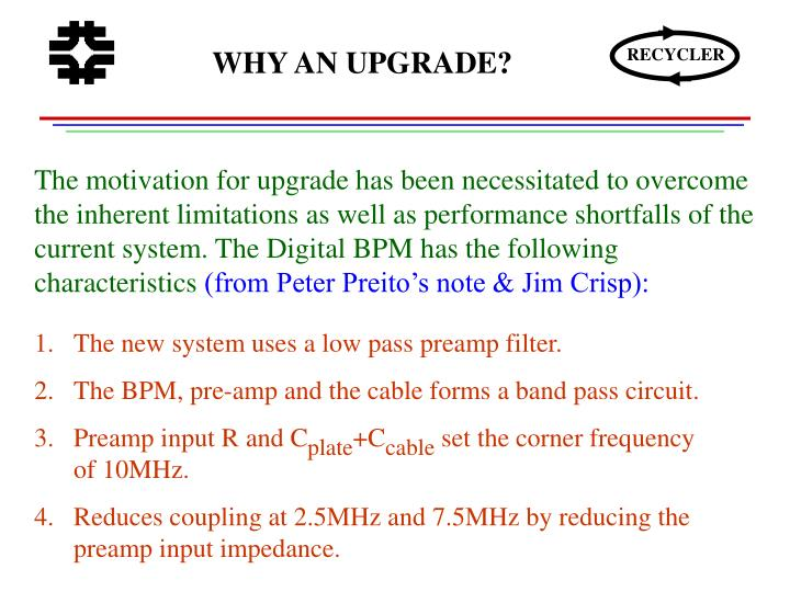 WHY AN UPGRADE?
