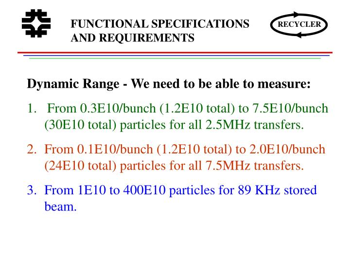 FUNCTIONAL SPECIFICATIONS AND REQUIREMENTS