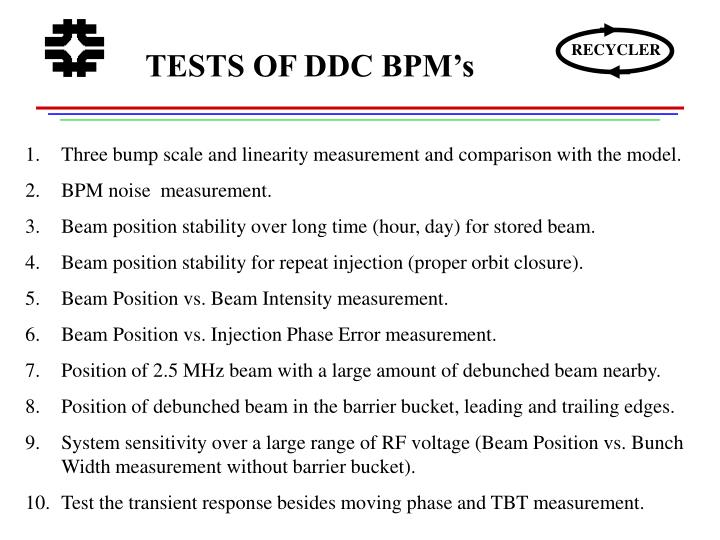 TESTS OF DDC BPM's