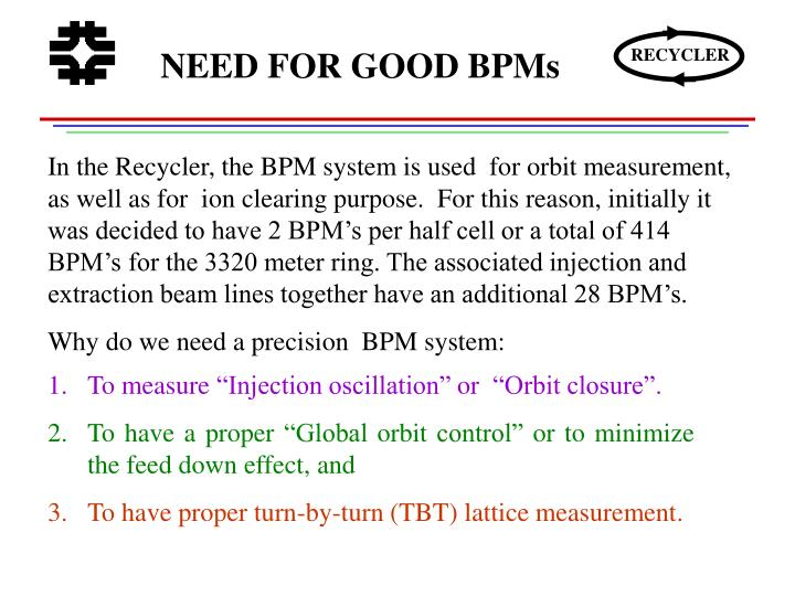 NEED FOR GOOD BPMs