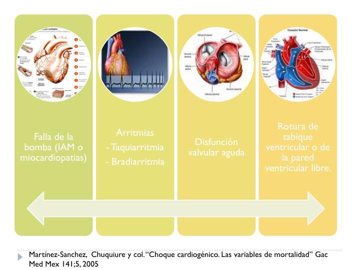 """Martínez-Sanchez,  Chuquiure y col. """"Choque cardiogénico. Las variables de mortalidad"""" Gac  Med Mex 141;5, 2005"""