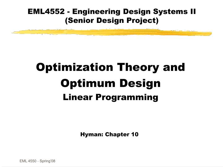 EML4552 - Engineering Design Systems II