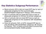 key statistics subgroup performance