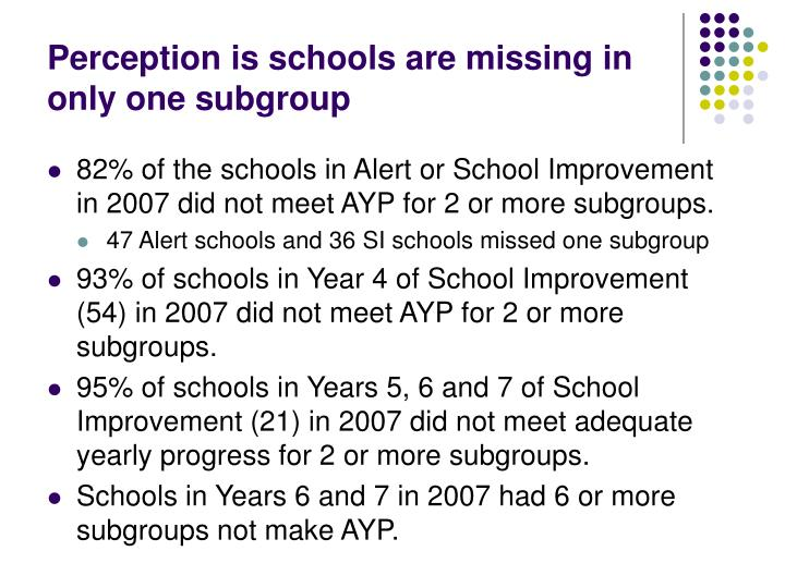 Perception is schools are missing in only one subgroup