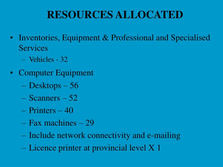RESOURCES ALLOCATED
