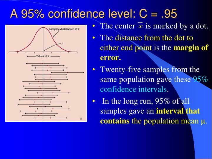 A 95% confidence level: C = .95