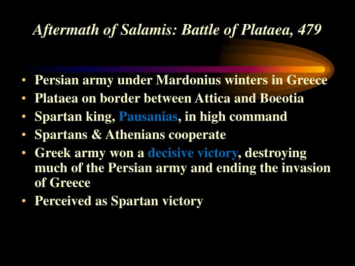 Aftermath of Salamis: Battle of Plataea, 479