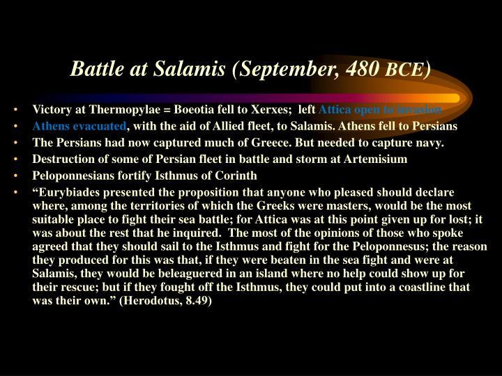 Battle at Salamis (September, 480