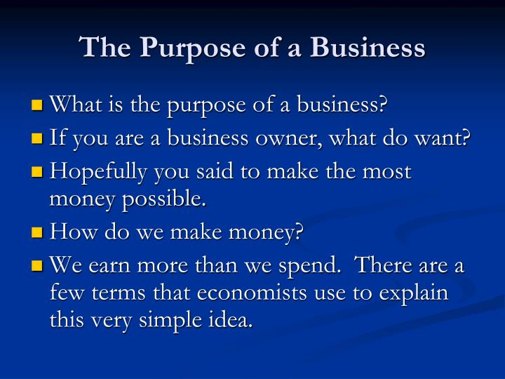 The Purpose of a Business