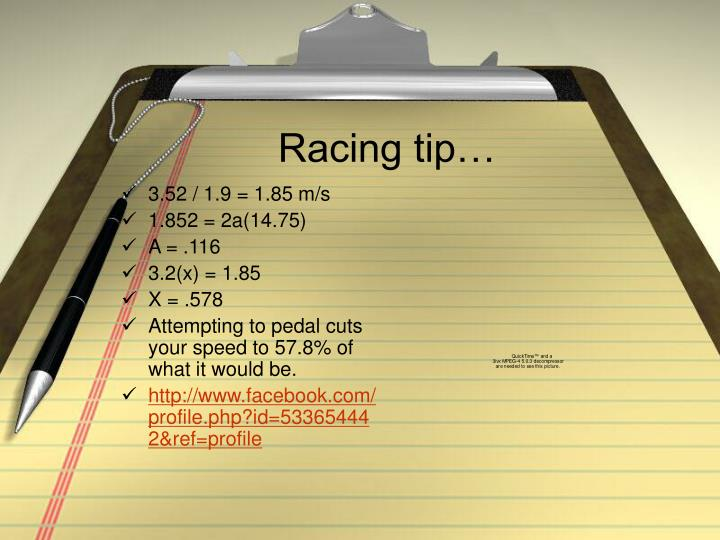 Racing tip…