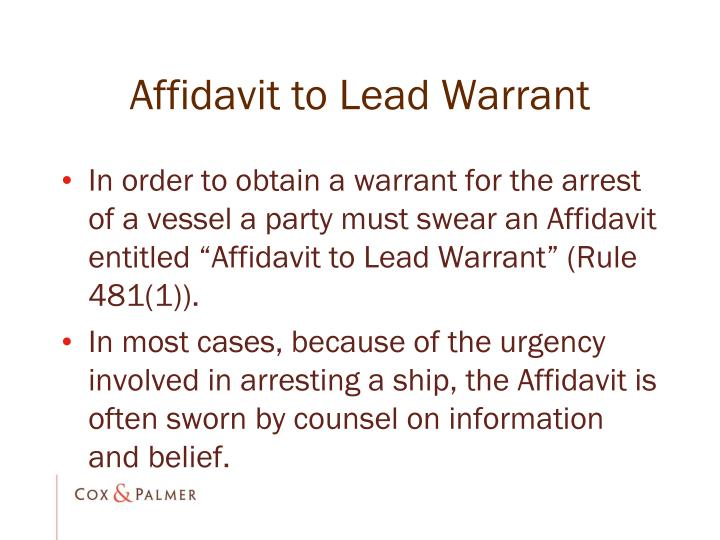 Affidavit to Lead Warrant