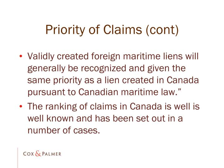 Priority of Claims (cont)