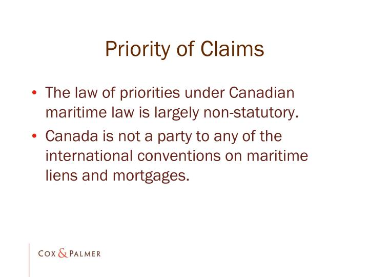 Priority of Claims