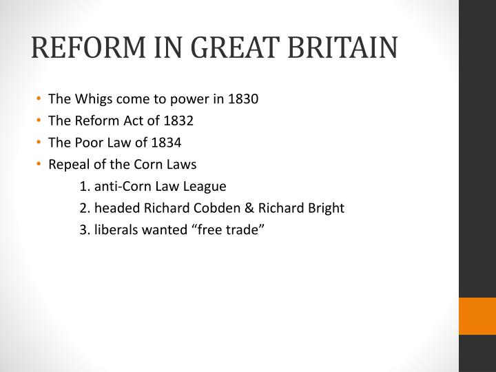 REFORM IN GREAT BRITAIN