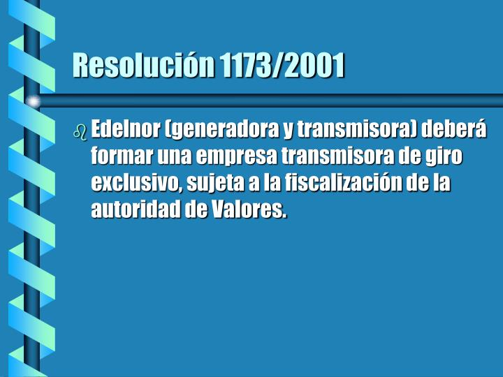 Resolución 1173/2001
