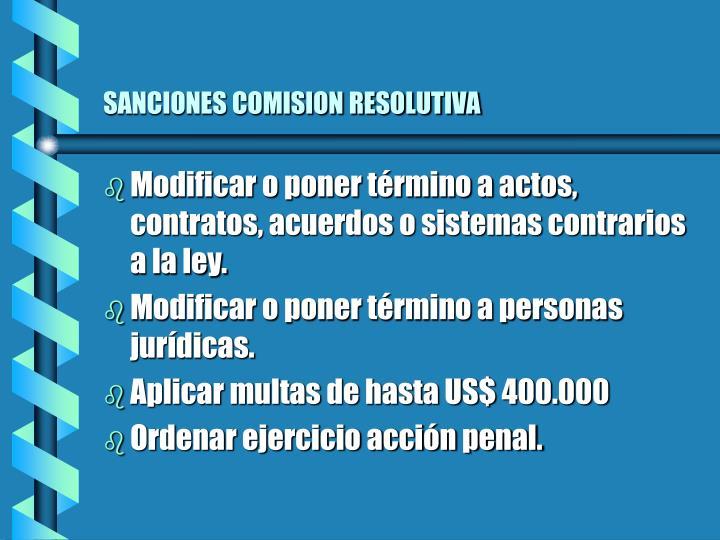 SANCIONES COMISION RESOLUTIVA