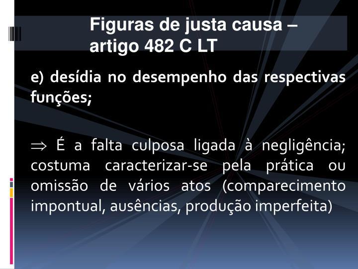 Figuras de justa causa – artigo 482 C LT
