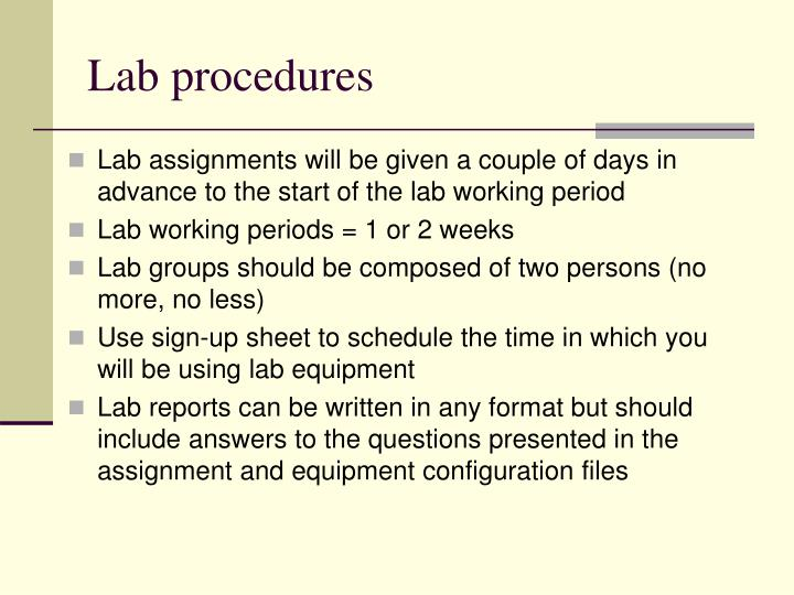 Lab procedures