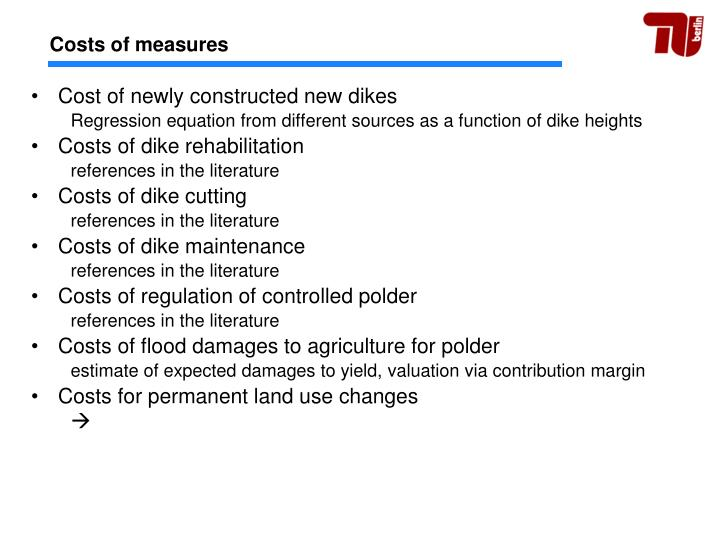 Costs of measures