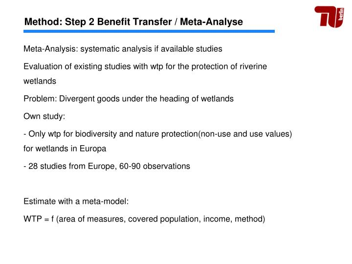 Method: Step 2 Benefit Transfer / Meta-Analyse
