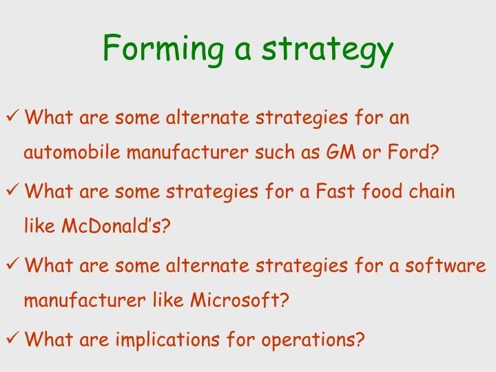 Forming a strategy