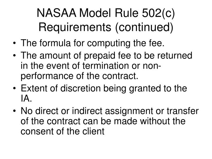 NASAA Model Rule 502(c)