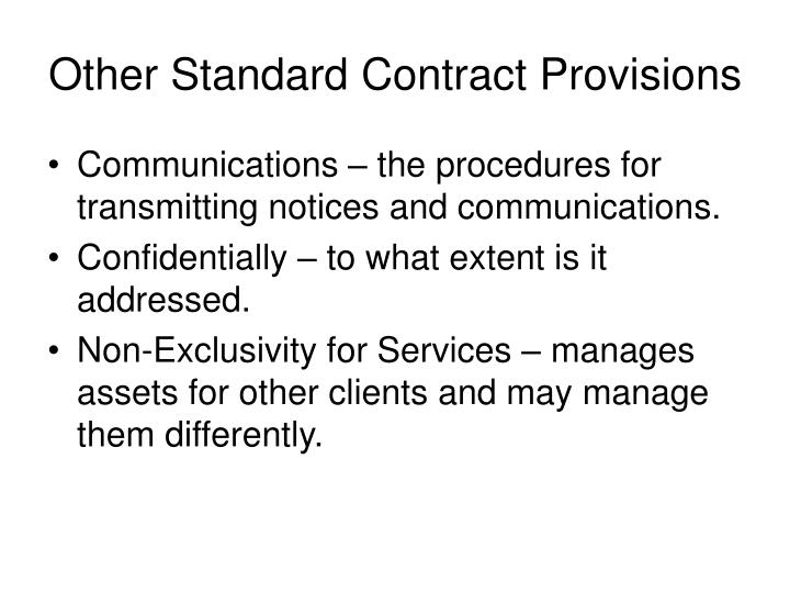Other Standard Contract Provisions