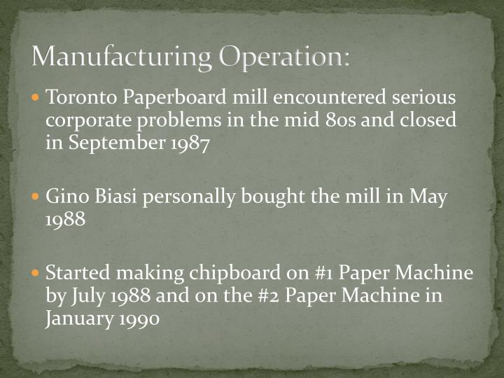 Manufacturing Operation: