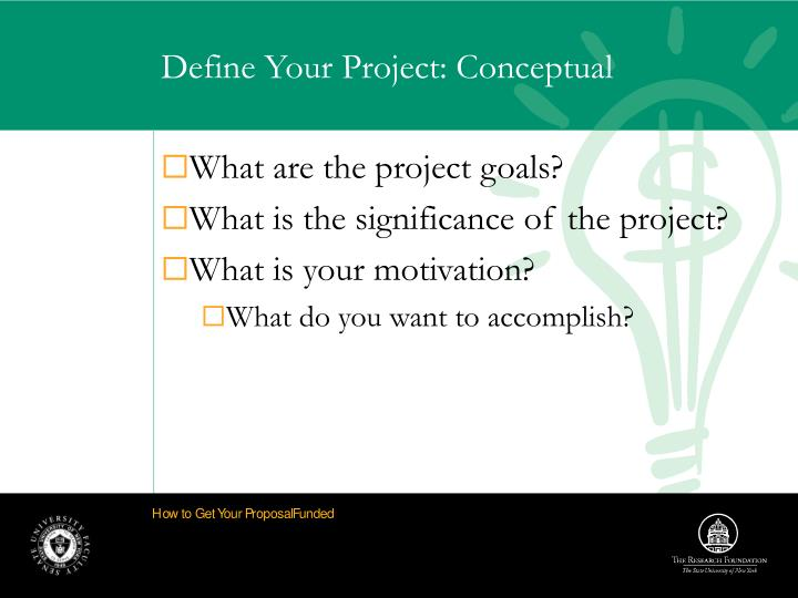 Define Your Project: Conceptual
