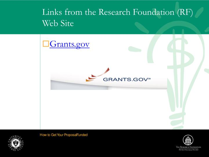 Links from the Research Foundation (RF) Web Site