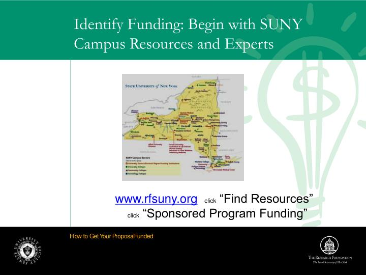 Identify Funding: Begin with SUNY Campus Resources and Experts