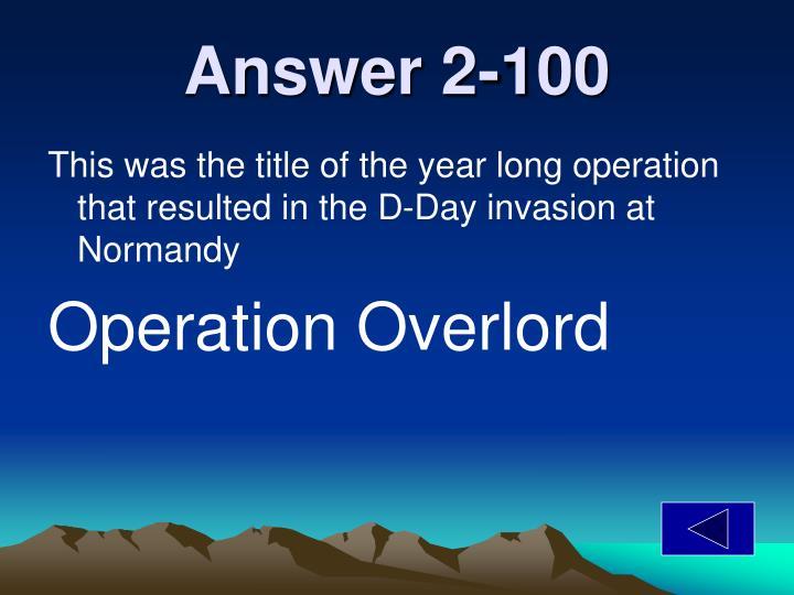 Answer 2-100