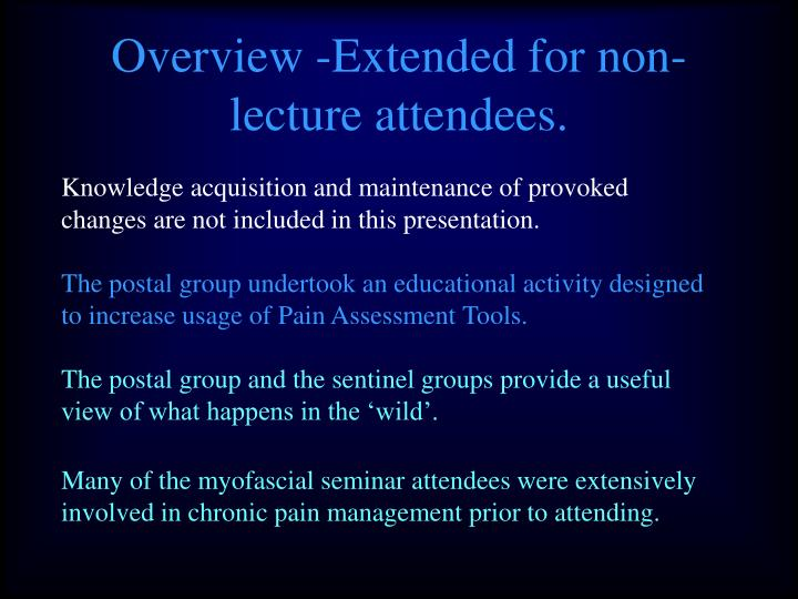 Overview -Extended for non-lecture attendees.