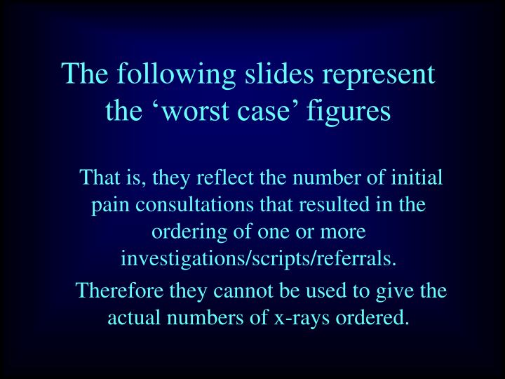 The following slides represent the 'worst case' figures