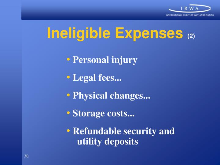 Ineligible Expenses