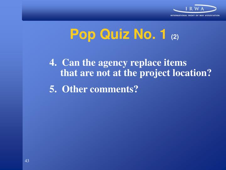 Pop Quiz No. 1