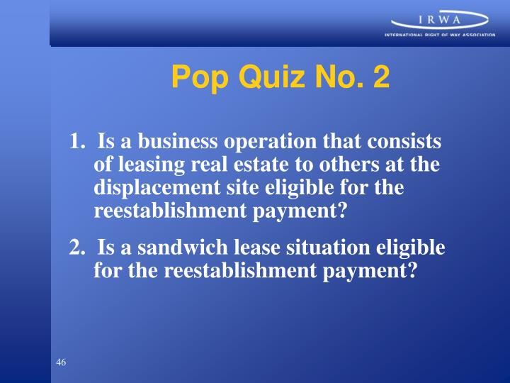 Pop Quiz No. 2