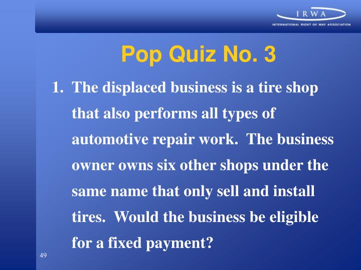 Pop Quiz No. 3