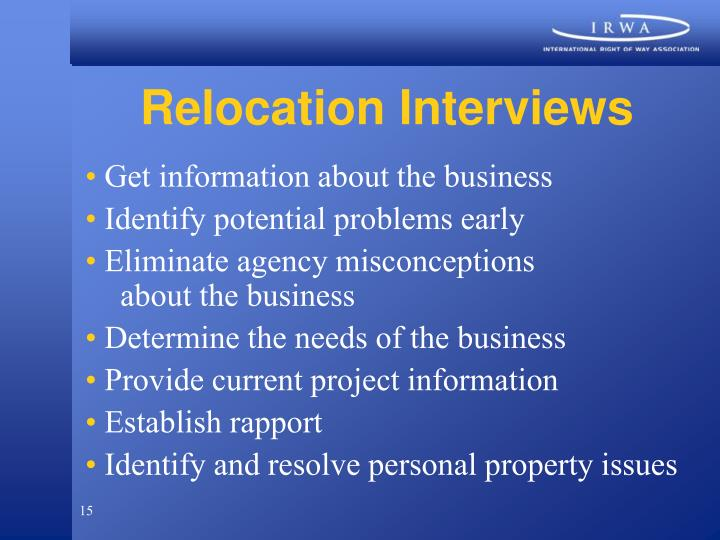 Relocation Interviews