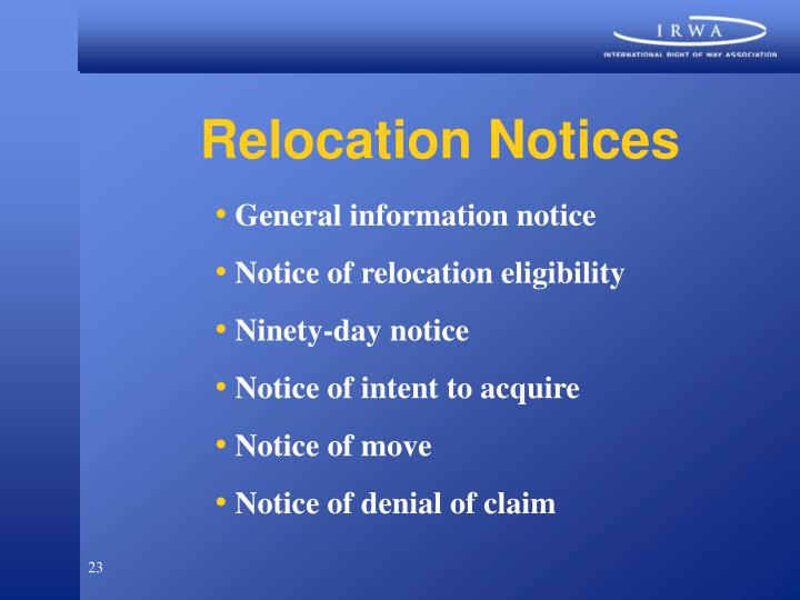 Relocation Notices