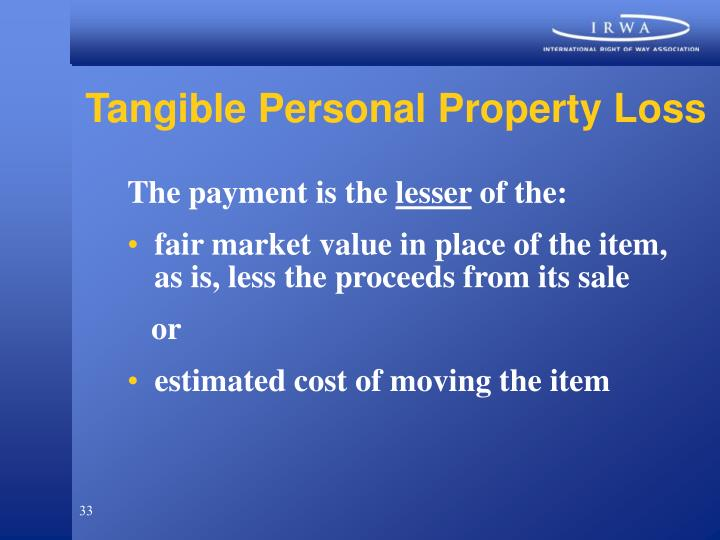 Tangible Personal Property Loss