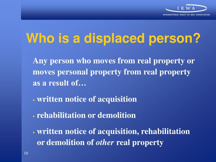 Who is a displaced person?