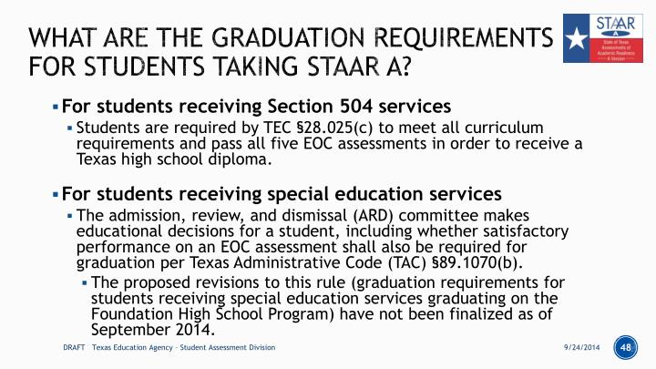 What are the graduation requirements for students taking STAAR A?