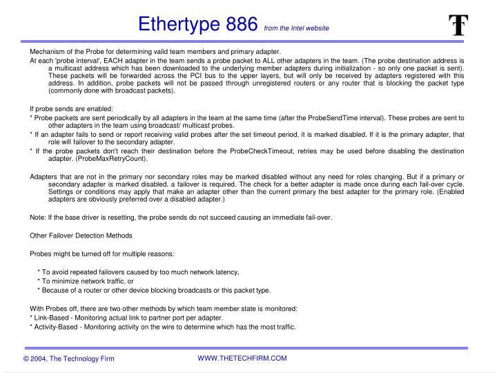 Ethertype 886 from the intel website1