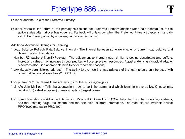 Ethertype 886 from the intel website2